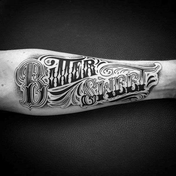 Typography Tattoo Design Ideas For Males Inner Forearm Bitter Sweet Words