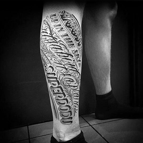 Typography Tattoo On Men Leg Sleeve