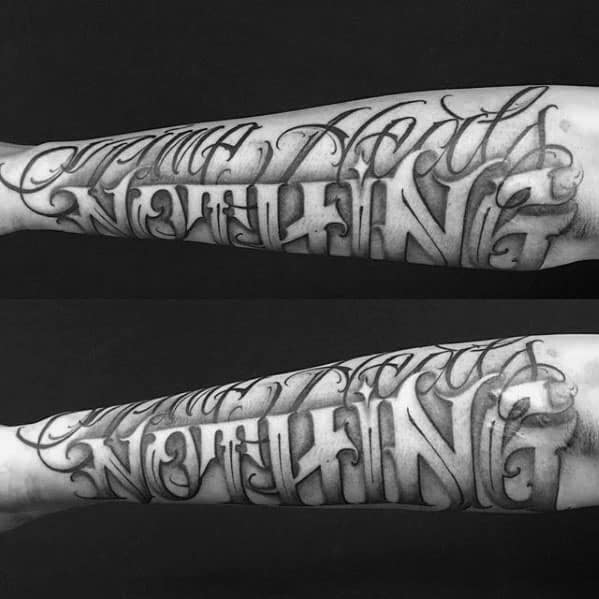 Typography Tattoos For Gentlemen Outer Forearm