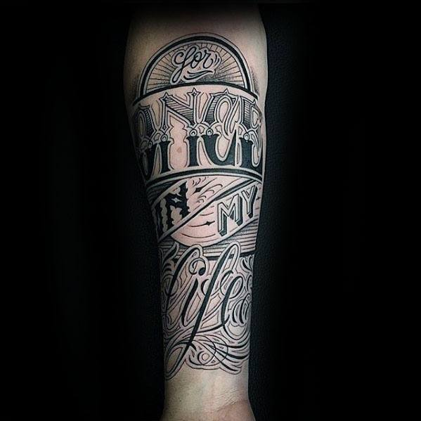 Typography Tattoos Guys Inner Forearm