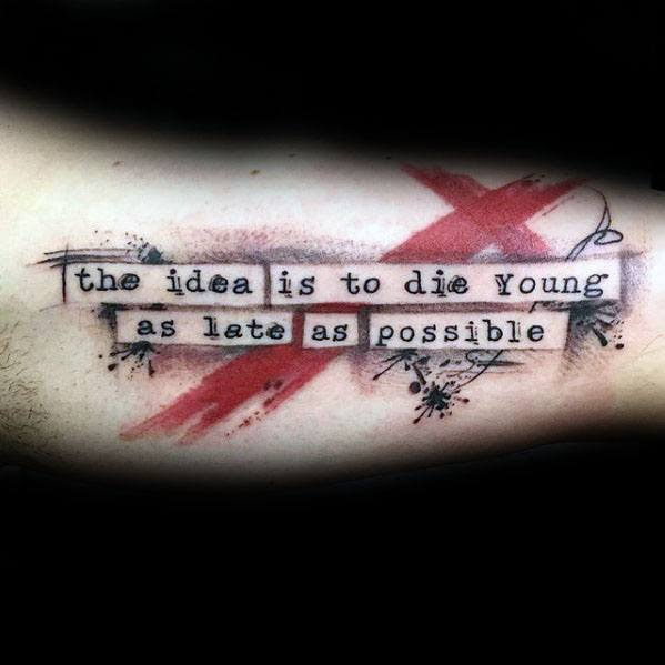 Typography Tattoos Men With Trash Polka Design On Inner Arm Bicep
