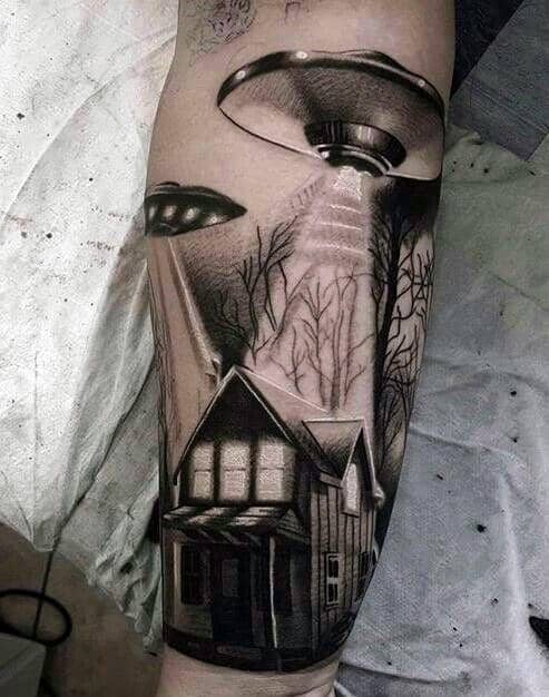 Ufo Spaceship Over Cabin In The Woods Mens Leg Tattoo