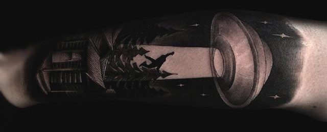 100 UFO Tattoo Designs For Men – Alien Abduction Ink