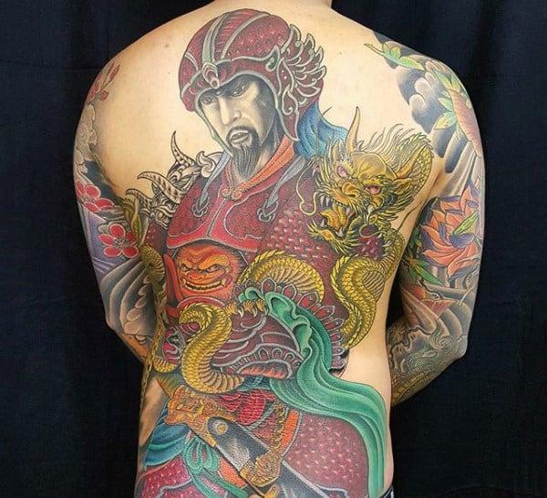 Ultimate Japanese Warrior Tattoo Full Back Male