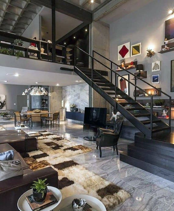 Ultimate Bachelor Pad Living Room With Staircase