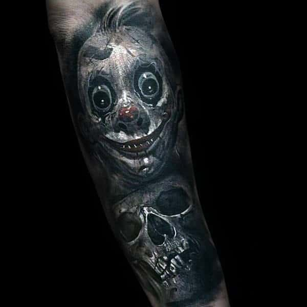 Ultra Creepy Mens Clown With Skull Forearm Sleeve Tattoos