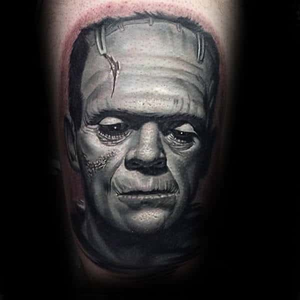 Ultra Detailed Male Frankenstein Face Tattoo On Thigh