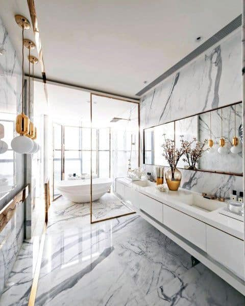 Ultra Luxury Gold Accents Marble Bathroom Ideas