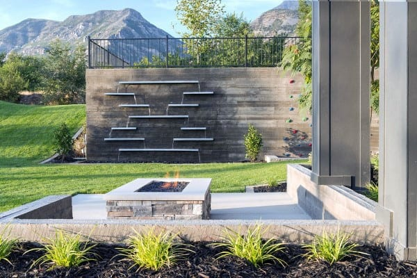 Ultra Modern Backyard Waterfalls Slat Design