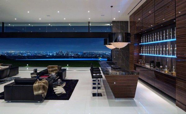 Ultra Modern Bar Living Room High Gloss Madagascar Ebony Wood Wall Ideas