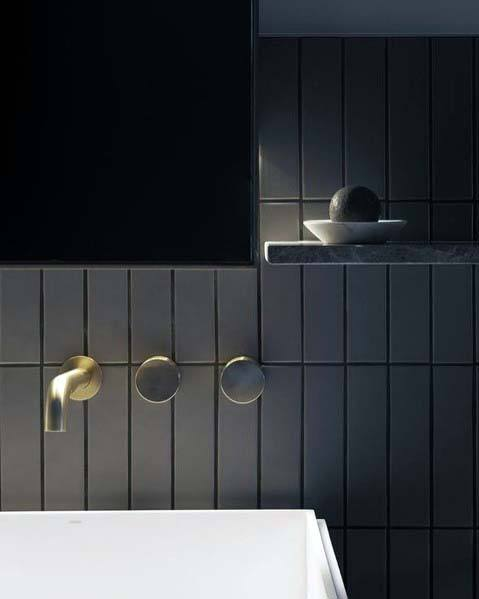 Ultra Modern Bathroom Black Designs With Gold Faucet