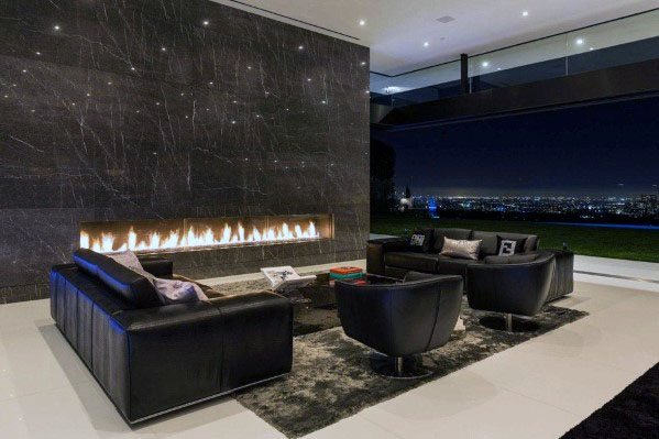 Ultra Modern Living Rooms Design Ideas For Linear Fireplace