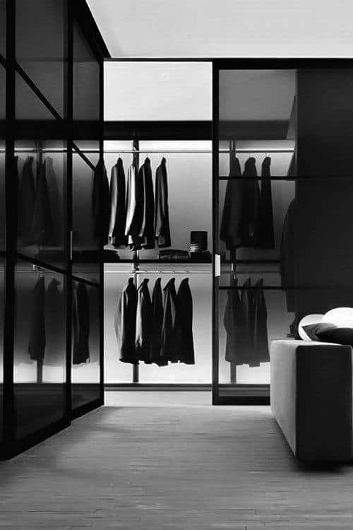Ultra Modern Orderly Glass Walk In Closet For Gentlemen