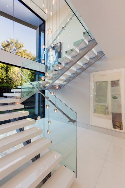 Ultra Modern White Marble And Glass Staircase Ideas