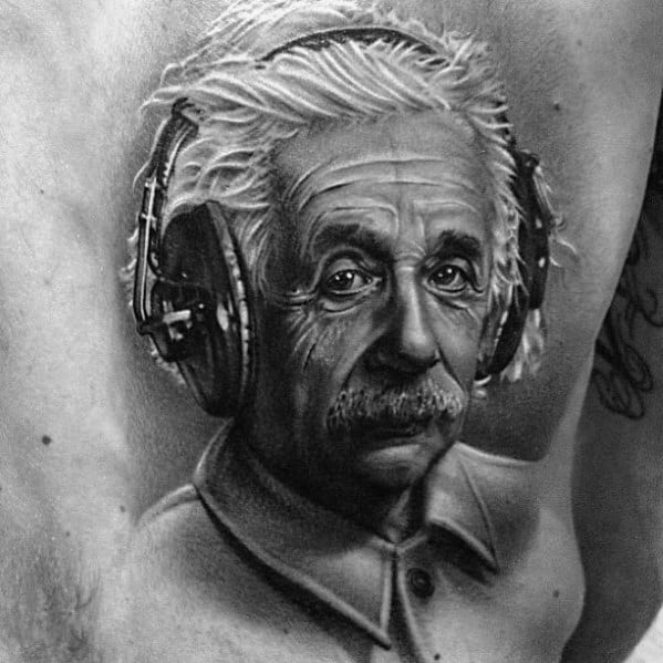 Ultra Realistic 3d Back Albert Einstein Tattoos Guys