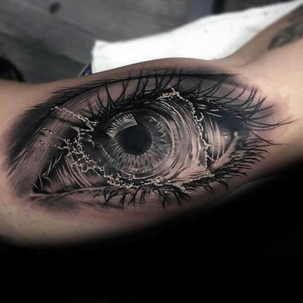 Ultra Realistic 3d Crazy Mens Water Splashing Eye Bicep Inner Arm Tattoos