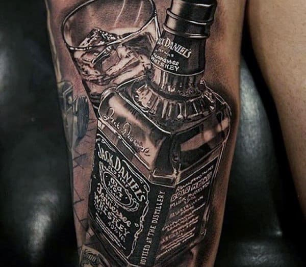 Ultra Realistic 3d Jack Daniels With Glass Mens Arm Tattoo
