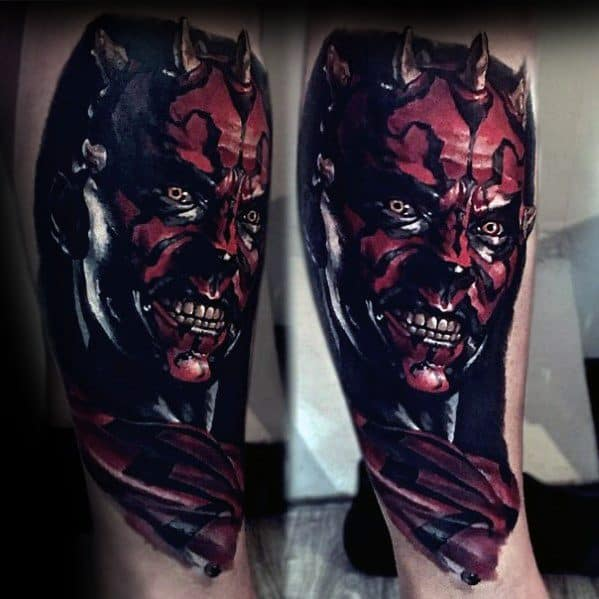 Ultra Realistic 3d Leg Darth Maul Tattoo Ideas On Guys
