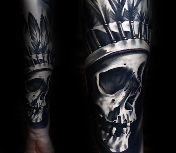 Ultra Realistic 3d Mens Indian Skull Shaded Black And Grey Ink Forearm Sleeve Tattoos