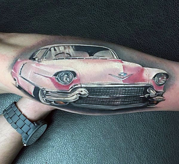 Ultra Realistic 3d Pink Cadillac Classic Car Guys Outer Forearm Tattoo