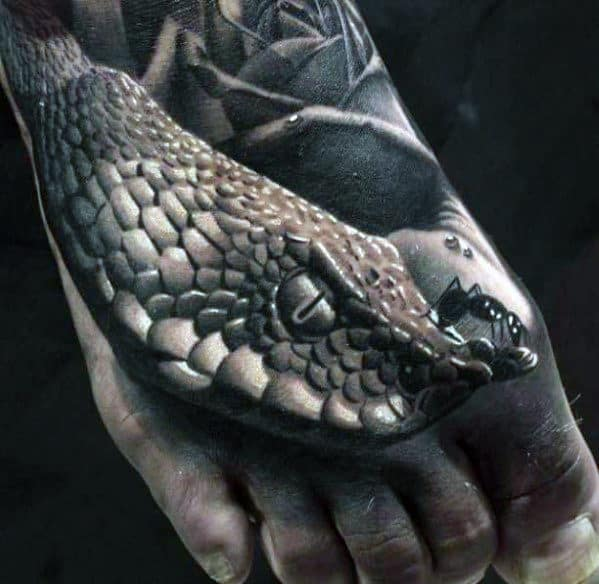 Ultra Realistic 3d Snake With Ant Mens Foot Tattoo
