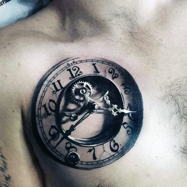 Ultra Realistic 3d Unbelievable Mens Upper Chest Clock Tattoo