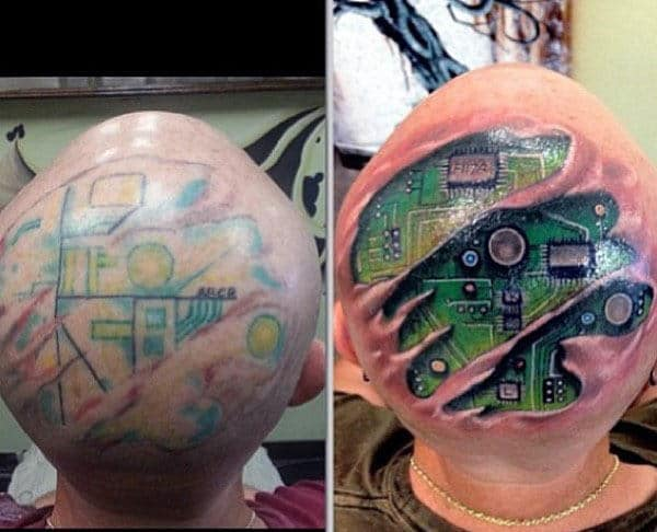 Ultra Realistic Circuit Board Head Tattoos For Males