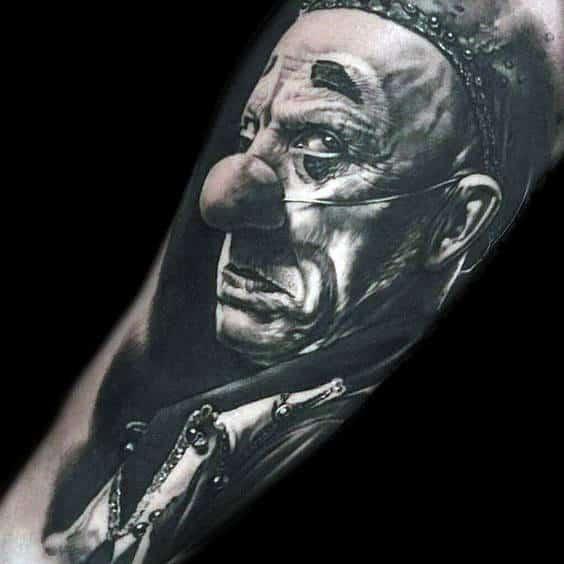 Ultra Realistic Clown Mens 3d Tattoo Arm Ideas