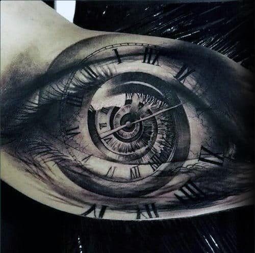 Ultra Realistic Guys Roman Numeral Clock Eye Tattoo With 3d Design