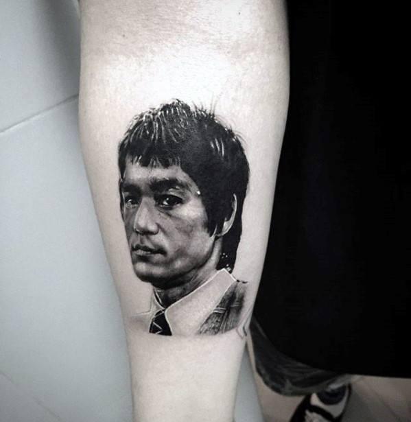 Ultra Realistic Inner Forearm Small Bruce Lee Head Tattoos Guys