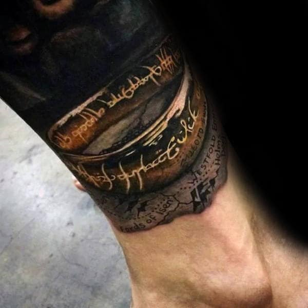 Neo Traditional Lord Of The Rings Tattoo
