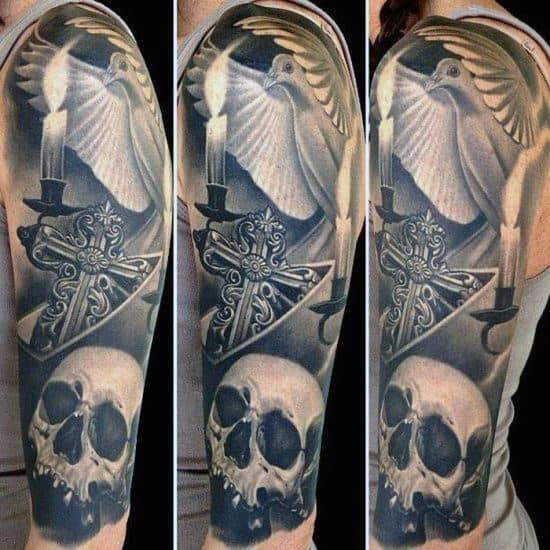 Ultra Realistic Mens Badass Cross With Skull 3d Half Sleeve Tattoo