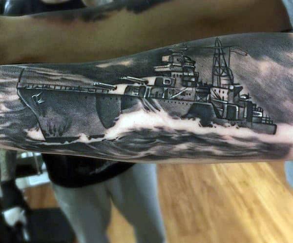 Ultra Realistic Mens Navy Ship Forearm Tattoo Design Ideas