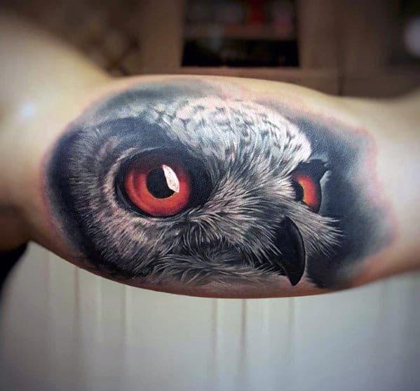 Ultra Realistic Mens Owl Inner Arm Bicep Tattoo Ideas