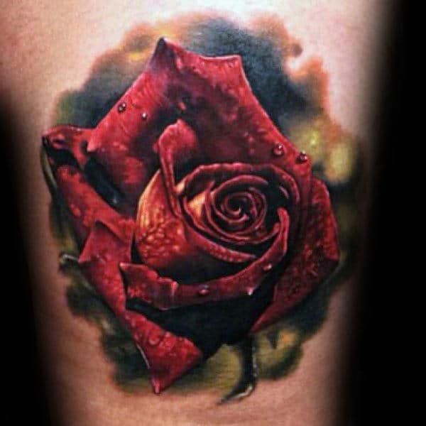 Ultra Realistic Mens Red Rose Flower With Green Watercolor Background