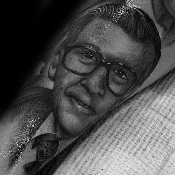 Ultra Realistic Portrait Of Grandfather Tattoo On Man