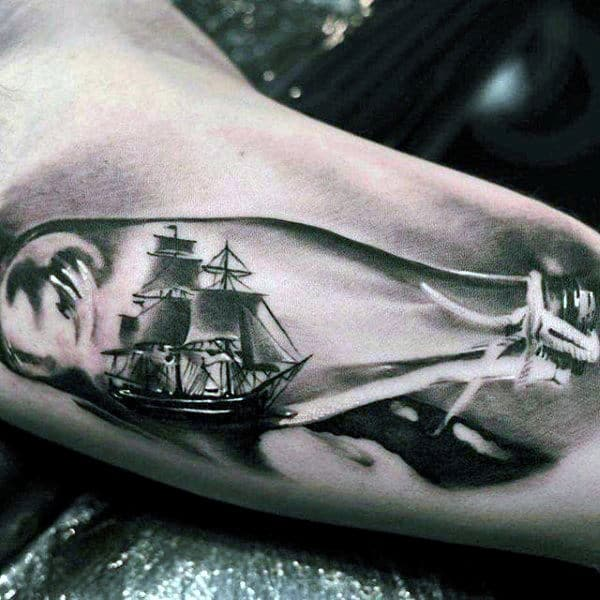Ultra Realistic Ship In A Bottle Glass Mens Tattoo Ideas