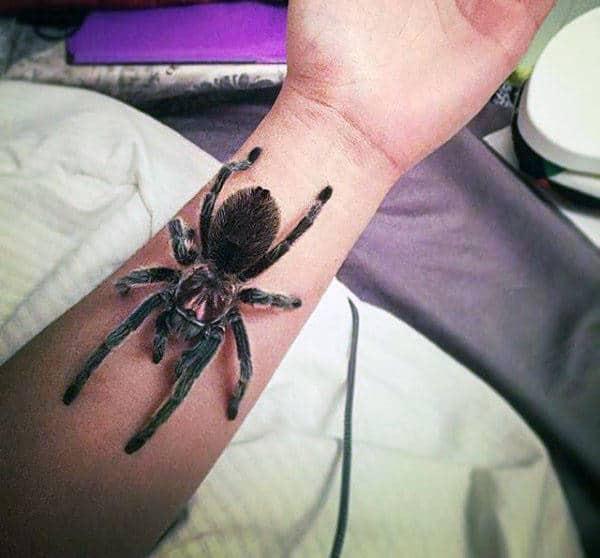 Ultra Realistic Tarantula Spider Mens 3d Inner Forearm Tattoos