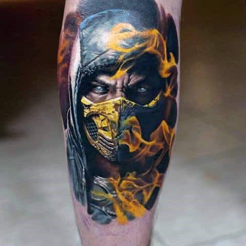 Ultra Reslistic Guys Mortal Kombat Flaming Tattoo On Leg Calf
