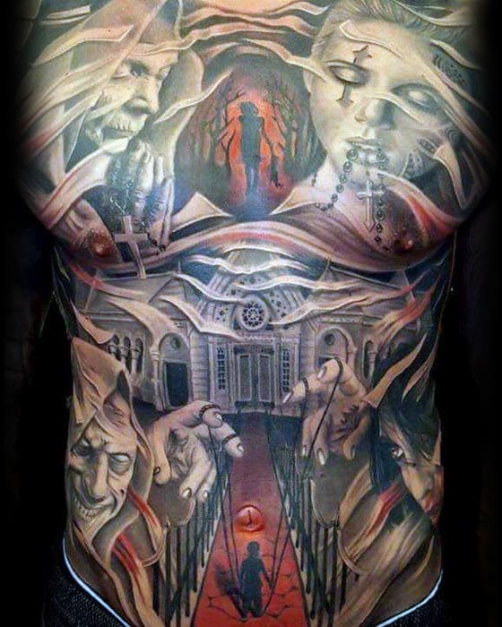 Unbelievable Mens Demon Full Chest Tattoos