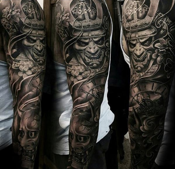 Unbelievable Samuari With Demon Mask Mens Sleeve Tattoo Designs