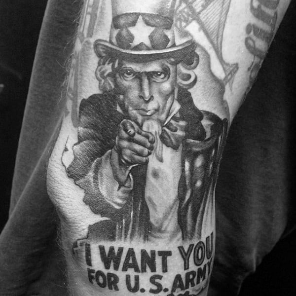 Uncle Sam I Want You For Us Army Mens Arm Tattoo Designs