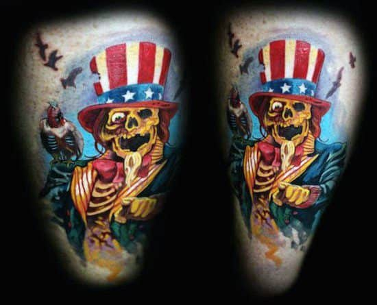 Uncle Sam Mens Tattoo Ideas On Thigh