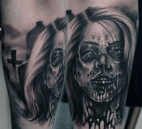 Undead Portrait Of Female Zombie With Tombstones And Cross Tattoo For Men