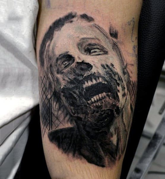 Undead Zombie Shaded Ink Mens Bicep Tattoos