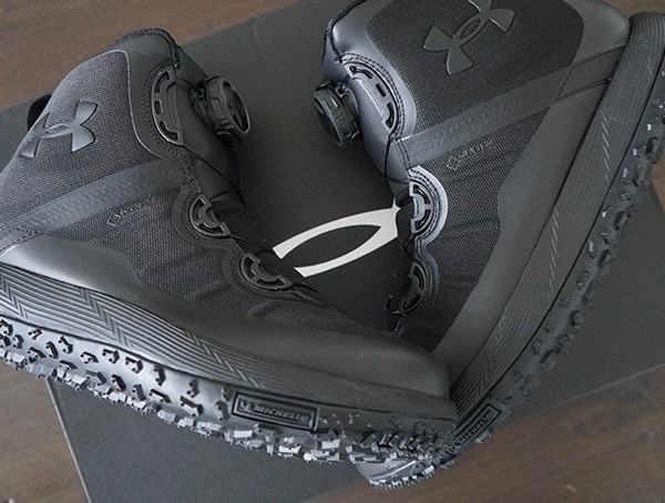 Under Armour Mens Fat Tire Black Hiking Boots With Michelin Outsole