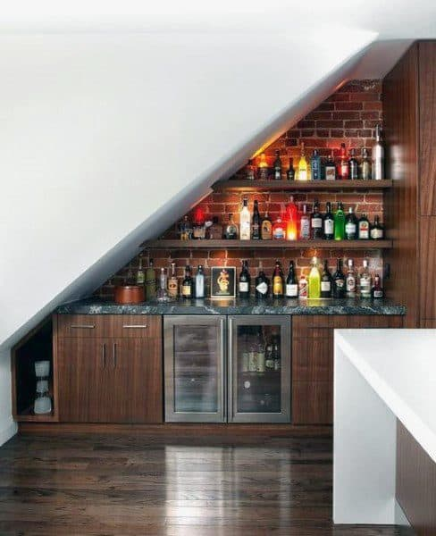 Under Staircase Brick Wall Mini Bar Ideas