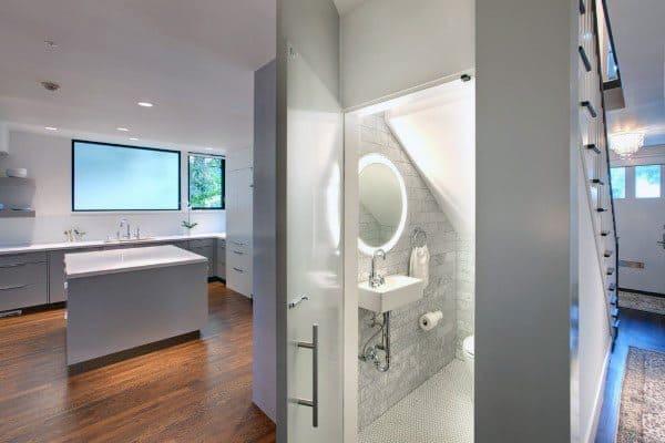 Under Staircase Modern Half Bath Ideas