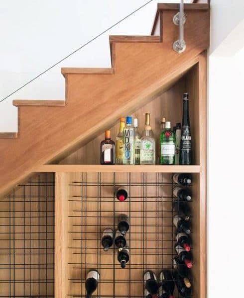 Under Staircase Wood Wine Cellar Mini Bar Ideas