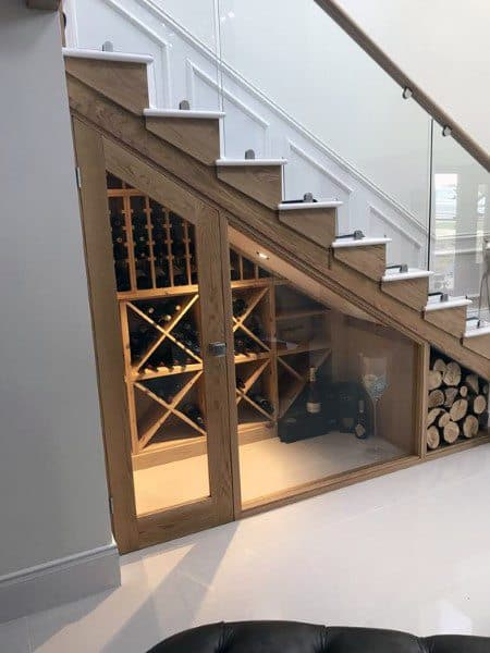 Under Staircase Wood Wine Room Ideas